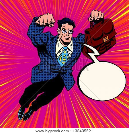 Businessman super hero flying pop art retro vector. Retro hero