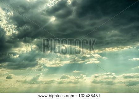 The sun's rays on the dramatic sky, Natural background.
