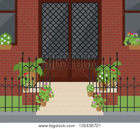 Flat vector illustration of facade doors with stairs door door with stairs entrance door beautiful door