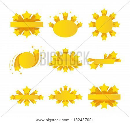 Labels with star burst, ribbons with stars around. Star label, star ribbon, icon star award. Vector illustration