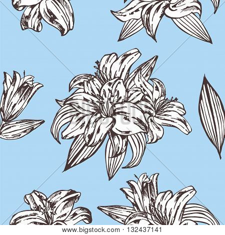 Seamless vector floral pattern. Royal lily flowers on a blue background.Seamless pattern with blooming lilies