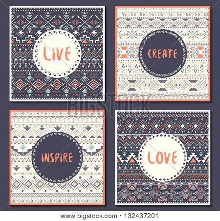 Collection of ethnic cards with motivational words: live love create inspire. Posters with aztec design. Tribal seamless patterns with text. Vector illustration.