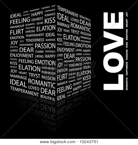 LOVE. Word collage on black background. Illustration with different association terms.