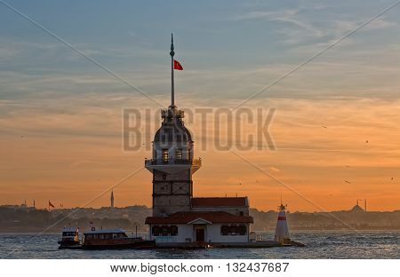 Maiden tower in Istanbul on a sunset Turkey