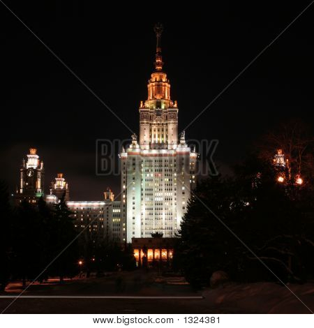 Lomonosov Moscow State University Main Building (Front, Night)