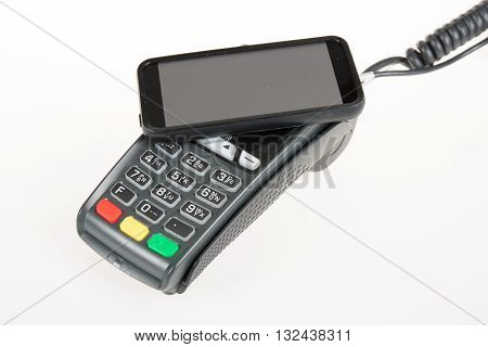 Credit Card Machine With Code Reader In Smart Mobile Phone,