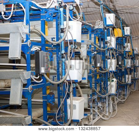 PRIMORSKO-AHTARSK, RUSSIA-MAY 30, 2012:The system of watering of poultry farm