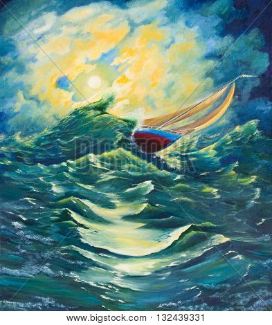 Sailing yacht in a stormy sea .Oil painting on canvas
