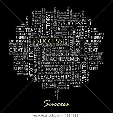 SUCCESS. Word collage on black background. Vector illustration.
