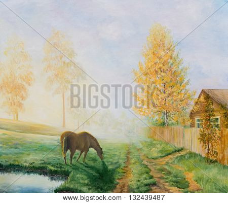 Rural landscape with a horse. Oil painting on canvas