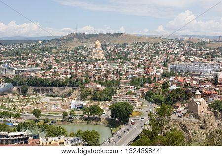 TBILISI, GEORGIA - AUGUST 07,2013: Top view of Tbilisi. Tbilisi is the capital of Georgia