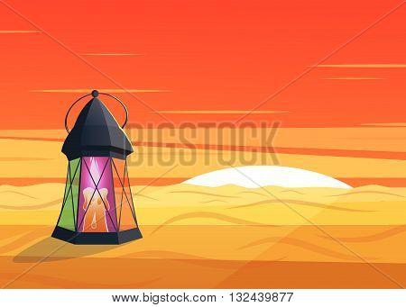 luminous lantern stands in the desert at a sunrise.Cartoon style.Ramadan Kareem vector illustration
