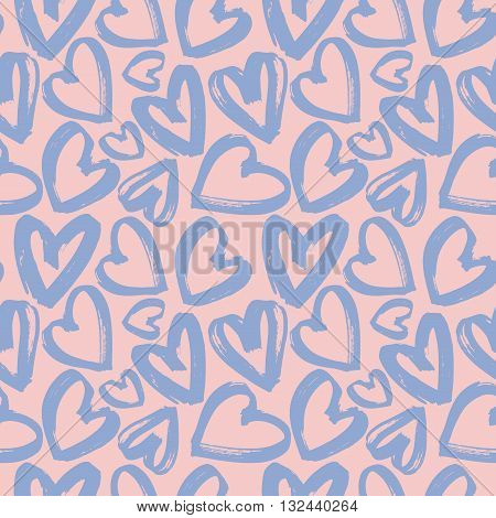 Seamless pattern of handdrawn brush lilac hearts on pink background. Hand painted vector illustration. Design for fabric, textile, wrapping paper, card, invitation, wallpaper, web design.
