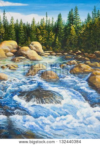 Rough river in the fir forest .Oil painting on canvas