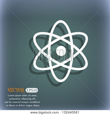 Atom, Physics Icon. On The Blue-green Abstract Background With Shadow And Space For Your Text. Vecto