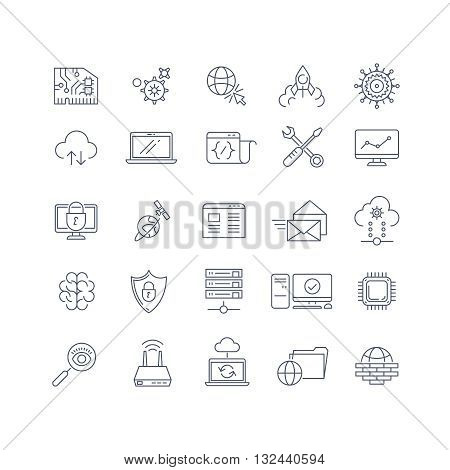 Database analytics and cloud computing vector line icons. Database and analytics, internet database, analytics data information, analysis database server illustration