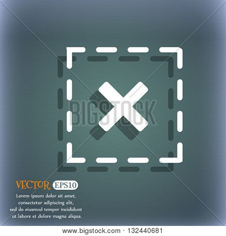 Cross In Square Icon. On The Blue-green Abstract Background With Shadow And Space For Your Text. Vec