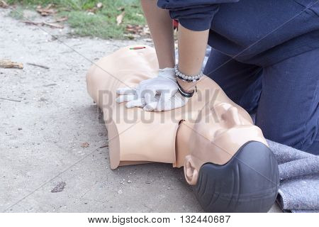 First aid training detail. Cardiopulmonary resuscitation (CPR).