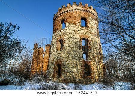 Abandoned ruins of a former windmill Czech republic