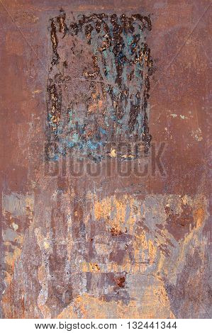 Detail of the rusty and scratched metal texture