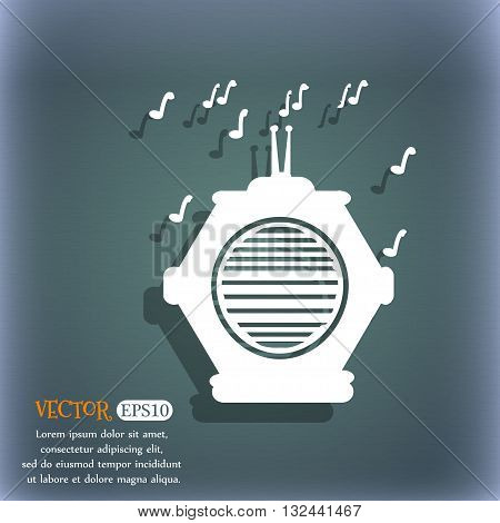 Old Analog Radio Icon. On The Blue-green Abstract Background With Shadow And Space For Your Text. Ve