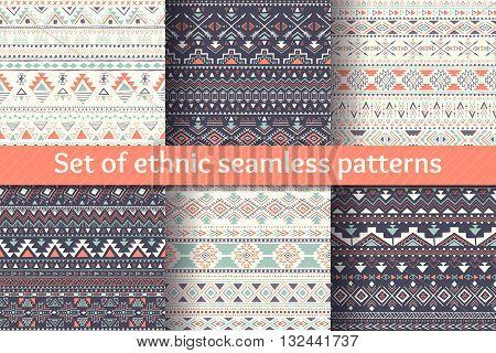 Set of six ethnic seamless patterns. Aztec geometric backgrounds. Stylish navajo design. Modern handmade abstract prints. Vector illustration.