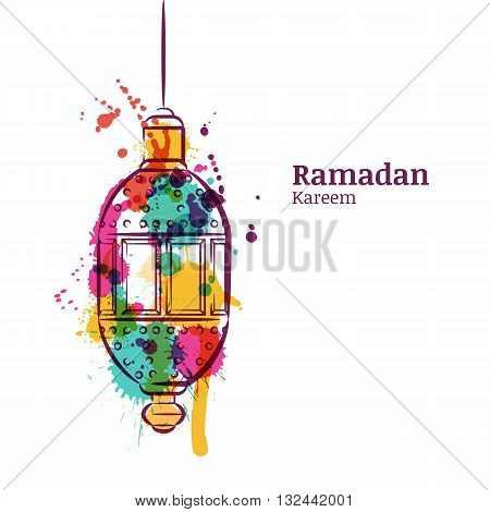 Ramadan Greeting Card With Traditional Watercolor Lantern. Ramadan Kareem Watercolor Background. Des