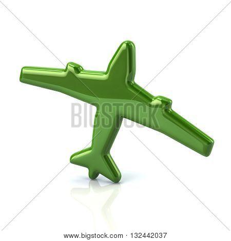 3D Illustration Of Green Plane Icon