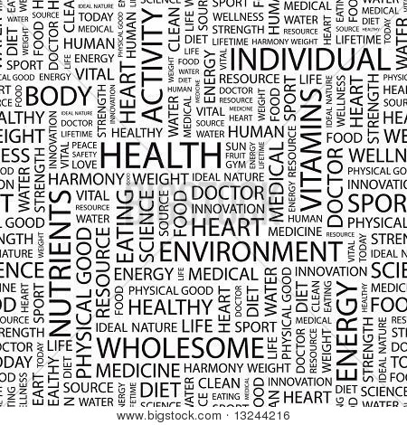 HEALTH. Seamless vector background. Illustration with different association terms.