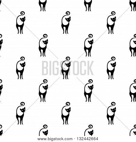 Cute seamless black and white pattern with cats