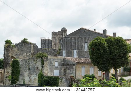Ancient architecture in the city of St. Emilion, France