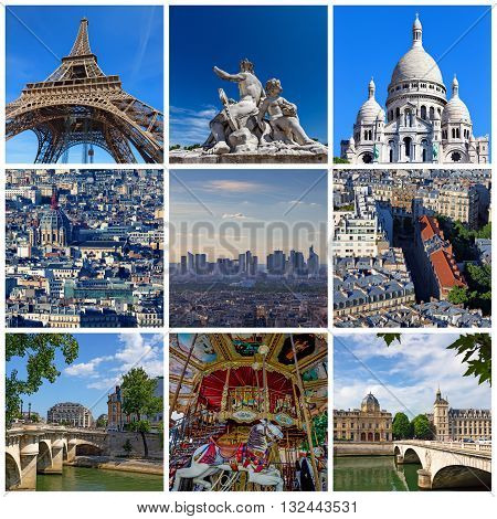 Collage of some pictures of different landmarks in Paris, France such as the Eiffel Tower, the Basilica of the Sacred Heart, some bridges above the Seine River and some other