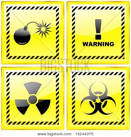 Warning sign collection. Vector illustration.