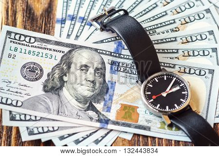 Money american hundred dollar bills. time is money concept