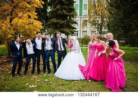 Stylish Groomsmen And Bridesmaids With Wedding Couple Background Yellow Trees