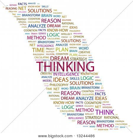 THINKING. Word collage on white background. Illustration with different association terms.