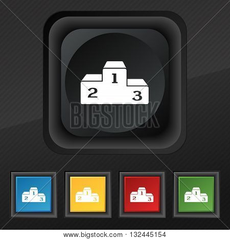 Podium Icon Symbol. Set Of Five Colorful, Stylish Buttons On Black Texture For Your Design. Vector