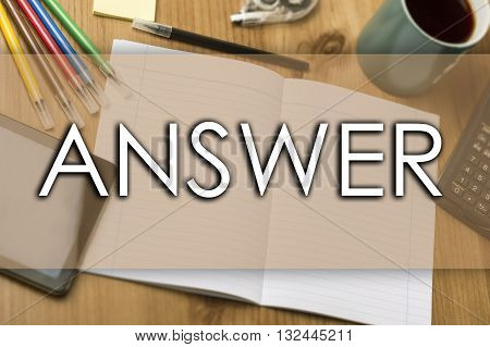 Answer - Business Concept With Text