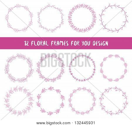 Floral set of 12 wreaths. Collection of floral frames. Hand drawn floral elements for your spring summer design. Bohemian collection. Vector illustration.