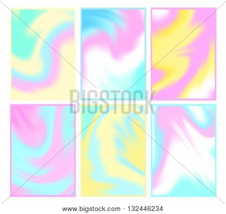 Set of bright holographic backgrounds. Modern trendy design for cards posters book covers brochures web banners. Different colors. Abstract vector illustration.