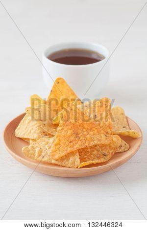 Tortilla chip a snack food made from corn tortillas