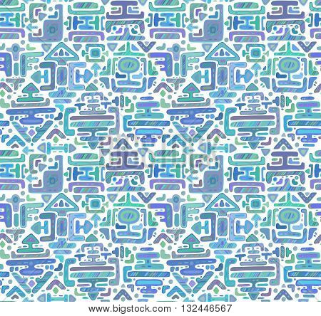 Vector seamless pattern with hand drawn color ornament maya on white background. Pastel endless backdrop.