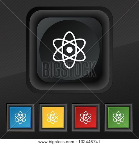 Atom, Physics Icon Symbol. Set Of Five Colorful, Stylish Buttons On Black Texture For Your Design. V