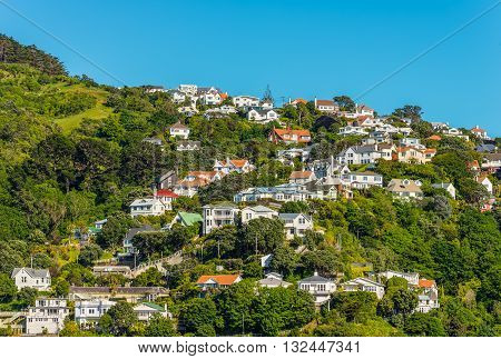 Colorful houses in Wellington New Zealand. Wellington is the capital city and second most populous urban area of New Zealand with 398300 residents.