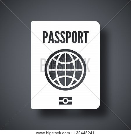 Vector Passport icon. Passport simple icon on a dark gray background