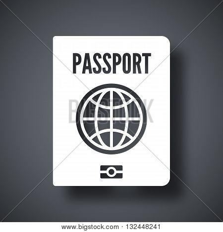 Vector Passport icon. Passport simple icon on a dark gray background