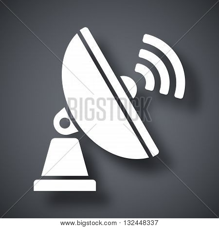 Vector Satellite Antenna icon. Satellite Antenna simple icon on a dark gray background