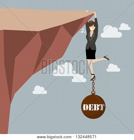 Business woman try hard to hold on the cliff with debt burden. Business concept