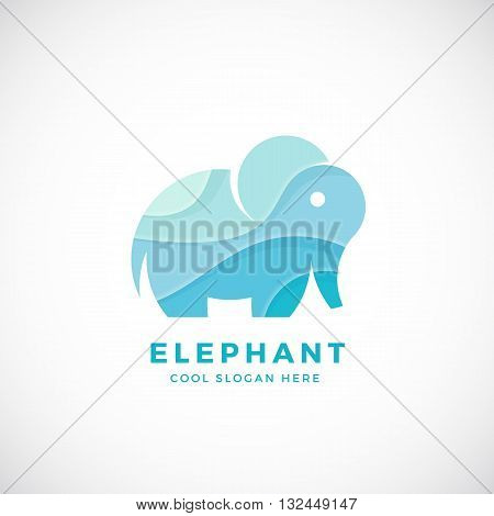 Tiny Elephant Abstract Vector Logo Template, Sign or Icon. Creative Stylisation. Isolated.