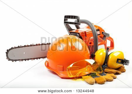 Chain Saw And Protective Clothes.